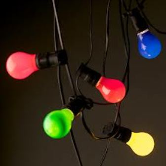 Festoon lights, coloured globes
