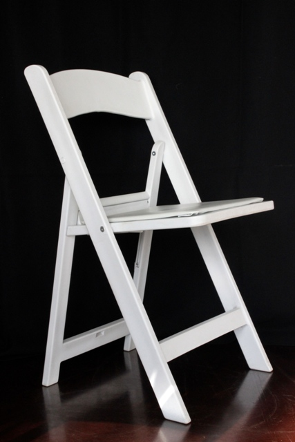 White padded folding wedding chair