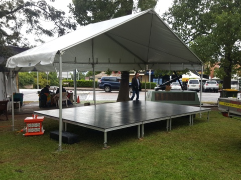 6m x 3m stage cover with a 4.8m x 3.6m stage