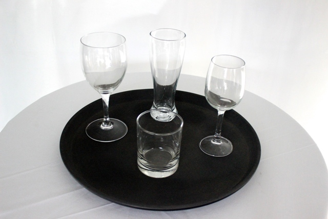 Bar trays - 35cm round - black - non slip