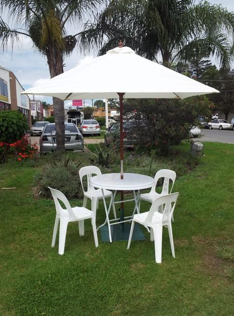 Market Umbrellas, white, 2m dia. w/base