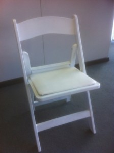 white folding wedding chair