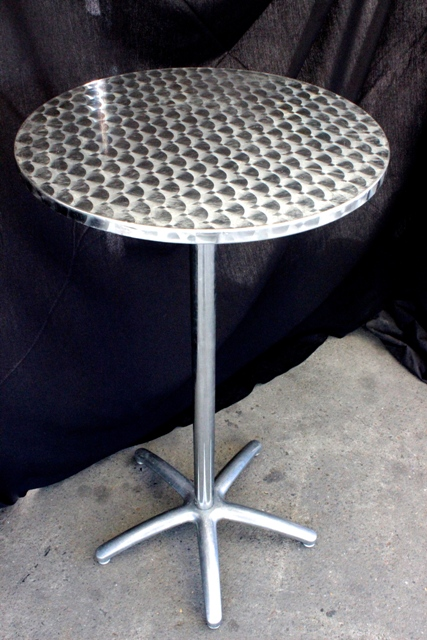 Bar tables/drink islands, s/steel, 60cm diameter x 1.1m high