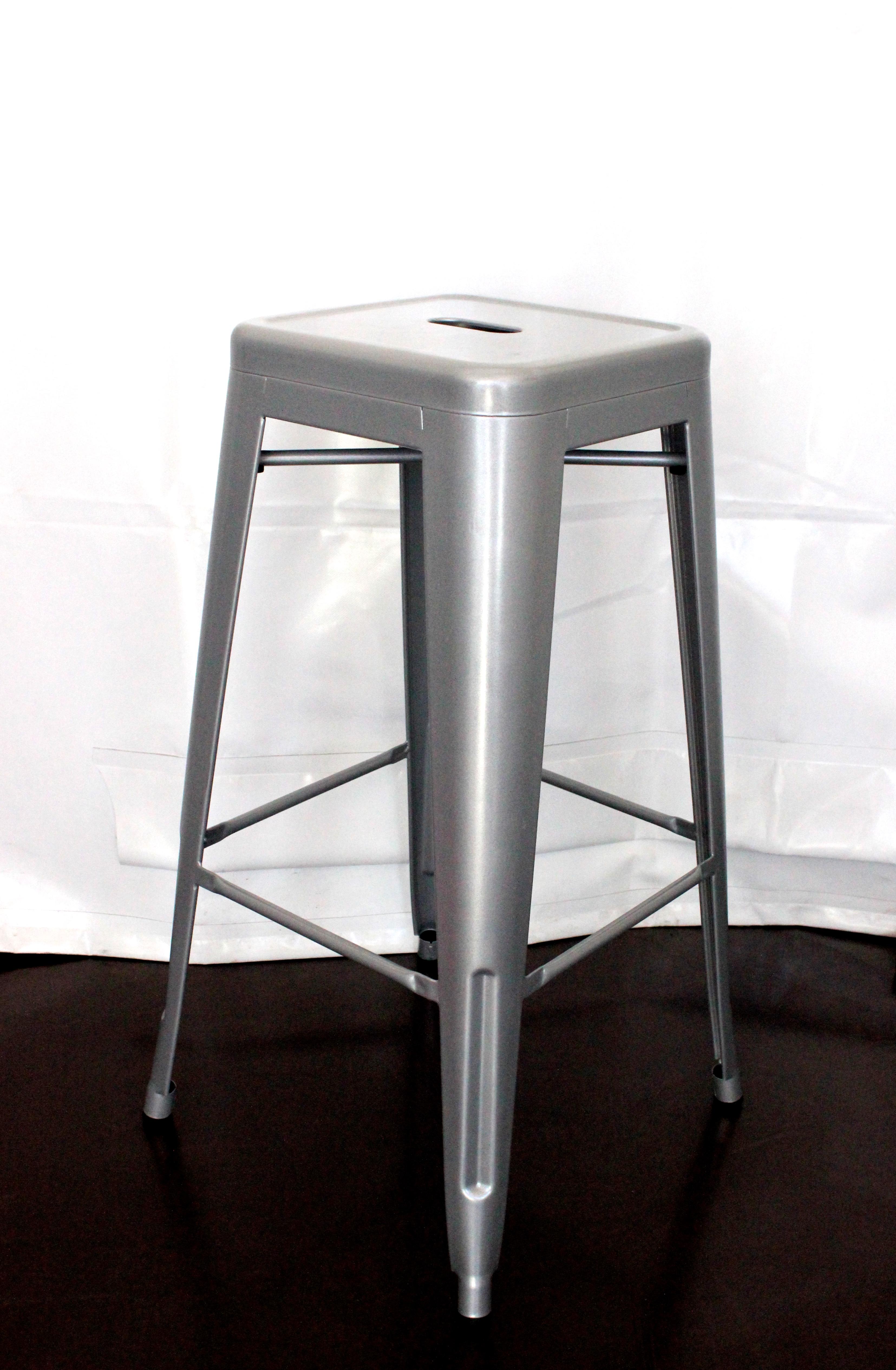 Tolix bar stools - silver, 76cm tall