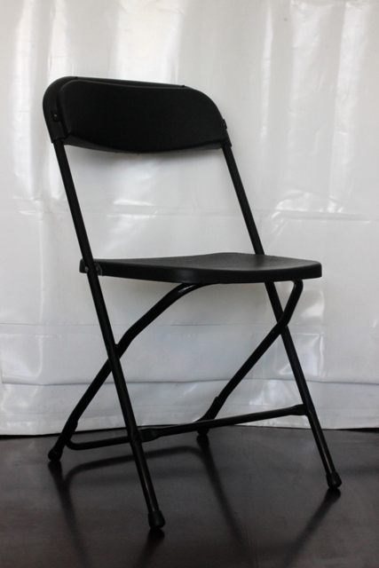 Black flat folding chair