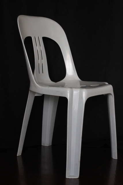 Grey plastic bistro chair