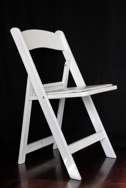 White padded folding wedding chair