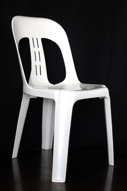 White premium plastic bistro chair