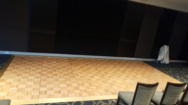 Parquetry dance floors, including gold edging