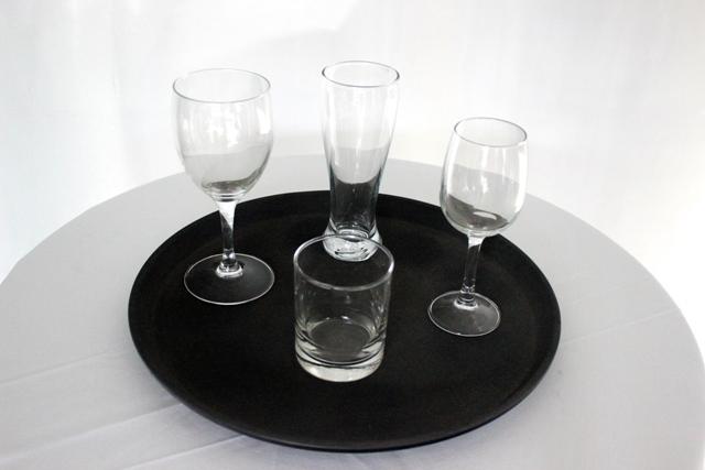 Bar trays - 35cm round - black - non slip