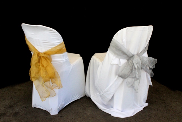 Chair covers, tie back, with sash
