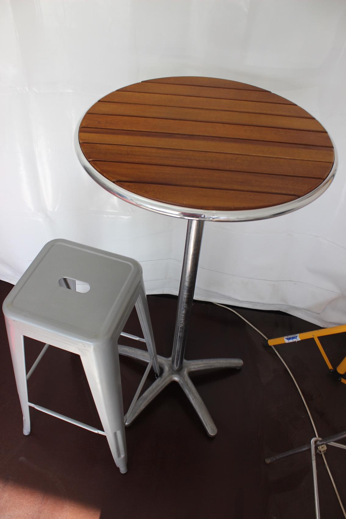 Bar table, timber slatted top, 60cm diameter x 1.1m high