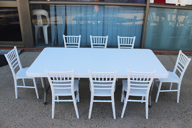 Kindy tables – white 1.5m x 75cm rectangular plastic top. Seats approx. 8 children