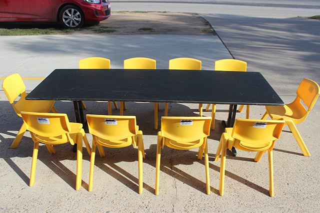 Kindy tables – Black 1.8m x 60cm rectangular timber top. Seats approx. 10 children